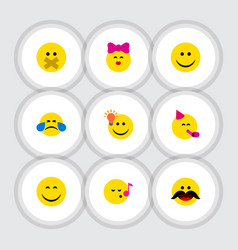 Flat icon gesture set of joy hush cold sweat and vector