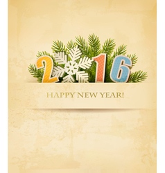 2016 with a snowflake on old paper background vector image vector image