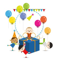 Group of child happy birthday party vector