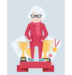 Elderly woman on a winners podium vector
