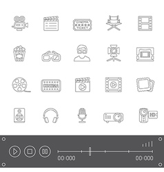 Line icons cinema vector
