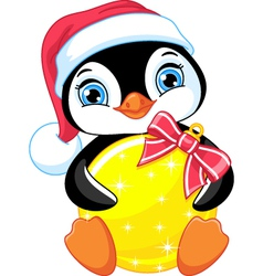 Penguin and christmas balls vector