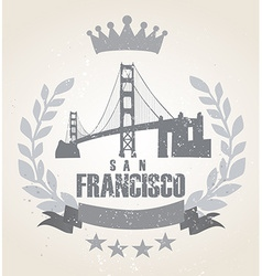 Grunge san franciso icon laurel weath vector