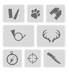 Monochrome with hunting icons vector