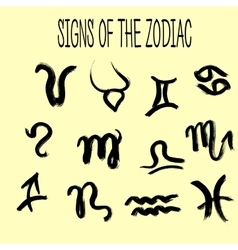 Set of zodiacs signs painted by hand grunge vector