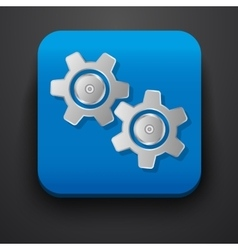 Setting gear symbol icon on blue vector