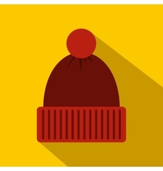 Red knitted hat icon flat style vector