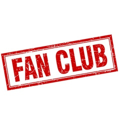 Fan club red grunge square stamp on white vector