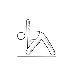 Man practicing yoga sketch icon vector