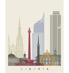 Jakarta skyline poster vector