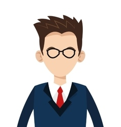 Caucasian businessman with glasses icon vector
