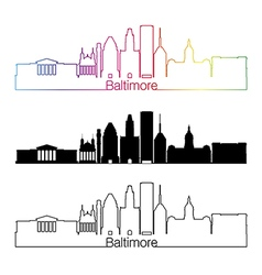 Baltimore skyline linear style with rainbow vector