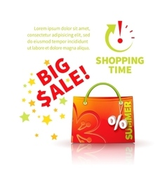 Bright red shopping bag vector image