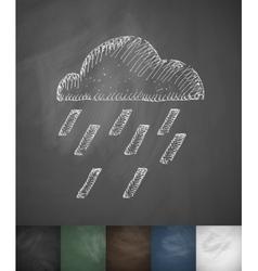Cloud rain icon hand drawn vector