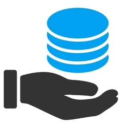 Coins donation hand flat icon vector