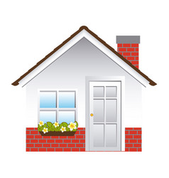 Comfortable facade house with chimney vector