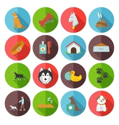 Dog icons flat vector