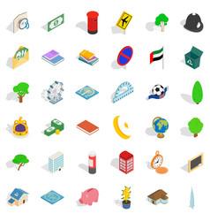 emblem icons set isometric style vector image