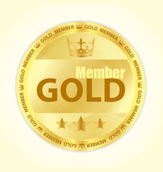 Gold member badge with royal crown and three vector image