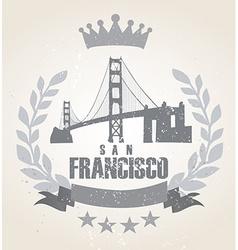 Grunge San Franciso icon laurel weath vector image vector image