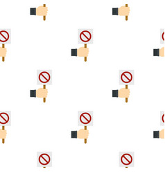Hand holding stop sign pattern seamless vector