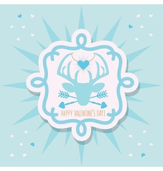 Happy valentines day blue hipster dear emblem vector