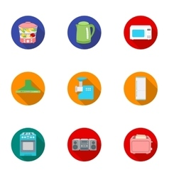 Household appliances set icons in flat style big vector