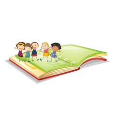 kids and book vector image