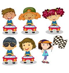 Kids car racing vector image vector image
