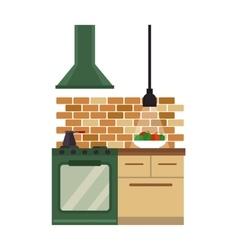 Kitchen interior flat style vector