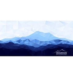 Low poly polygonal background with blue mountain vector