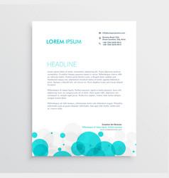 modern blue circles letterhead template design vector image