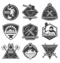 Monochrome vintage blacksmith labels set vector