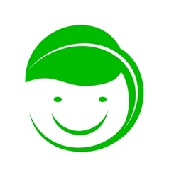 Organic smiley with green leaf icon simple style vector image