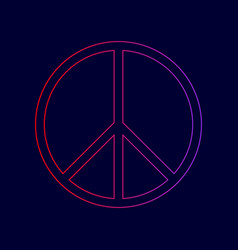 Peace sign line icon with vector