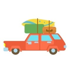 Red hatchback car with cargo luggage icon vector image