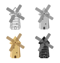 Spanish mill icon in cartoon style isolated on vector