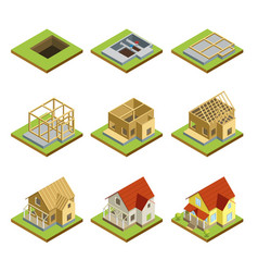 Stages of house construction isometric 3d set vector