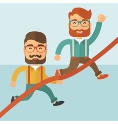 Two men running vector image