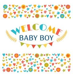 Welcome baby boy baby boy shower card announcement vector