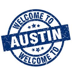 Welcome to austin blue stamp vector