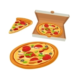 Whole pizza mexican in open white box and slice vector