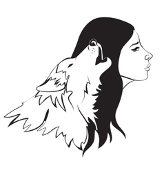 Woman and wolf vector