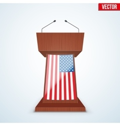 Wooden Podium Tribune with Microphones vector image vector image