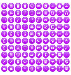 100 hi-school icons set purple vector