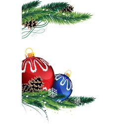 Christmas baubles with fir tree branches vector