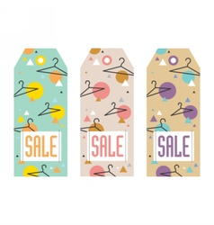 Set of sale tags with hangers vector