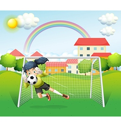 A sporty woman playing soccer vector