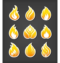 Fire paper cut icons set vector