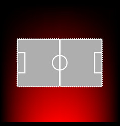 Soccer field postage stamp or old photo style on vector
